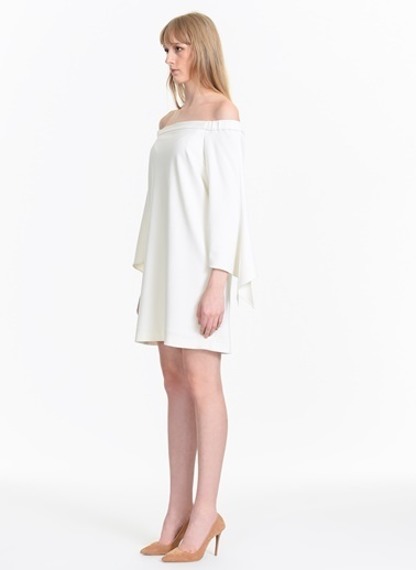 Tibi Kayık Yaka Mini Elbise Beyaz